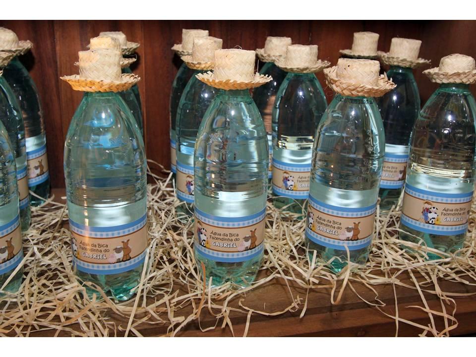 rótulo água festa fazendinha