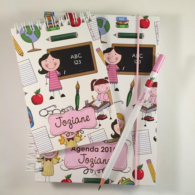 kit agenda + bloquinho + lápis
