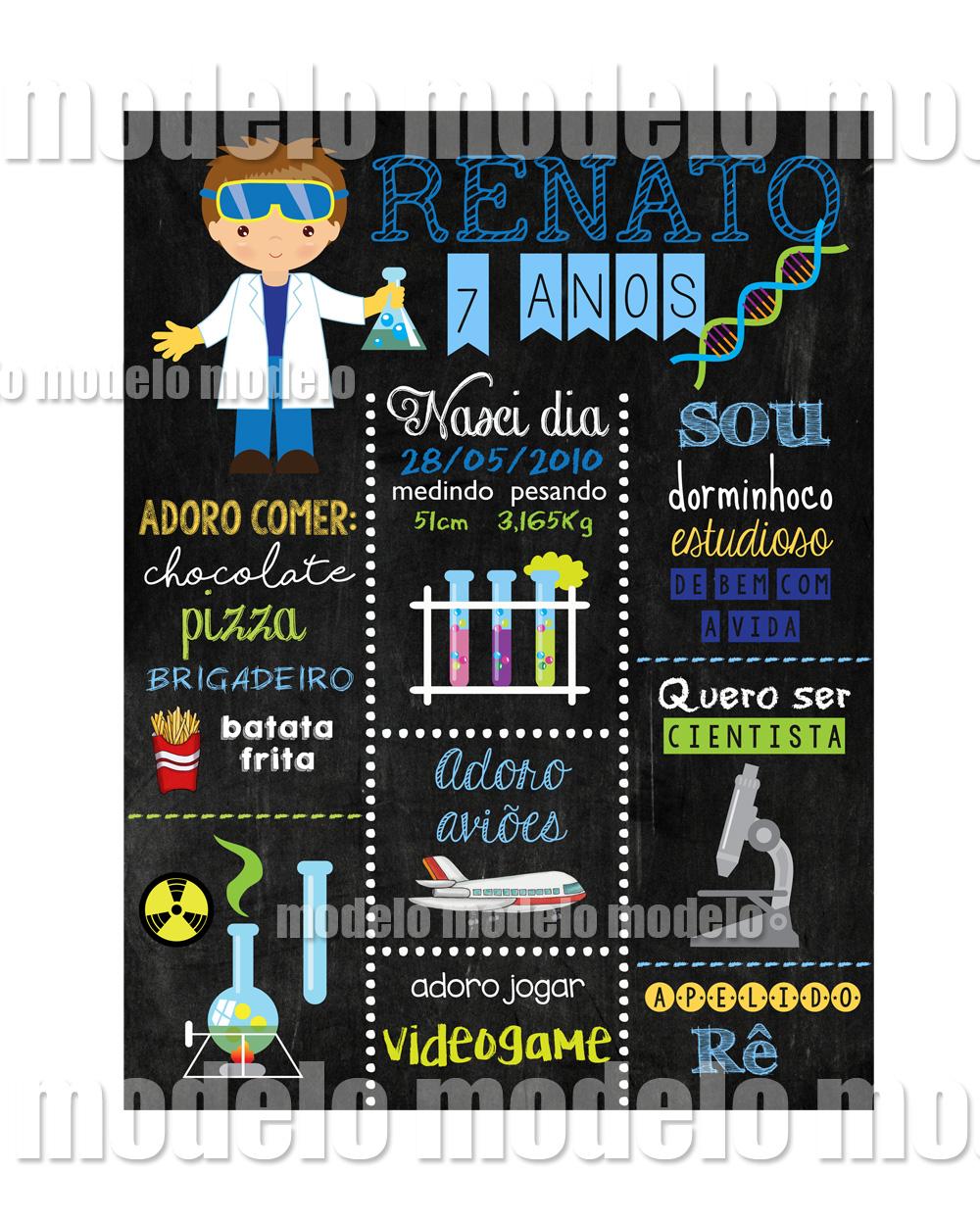 cientista chalkboard modelo