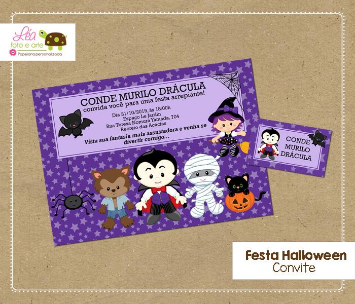 convite halloween menino