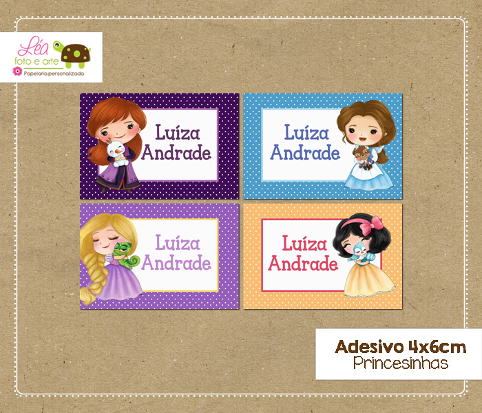 adesivo material escolar princesas